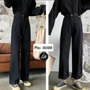 quần jeans nữ ống suông màu đen giá rẻ