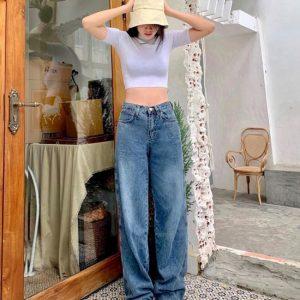 Quần jean nữ ống rộng lưng siêu cao xanh giá rẻ