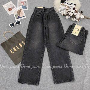 Quần jean nữ ống rộng lưng cao đen cực hot giá rẻ