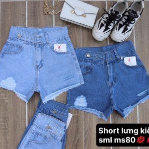 quần short jeans nữ lưng kiểu giá rẻ